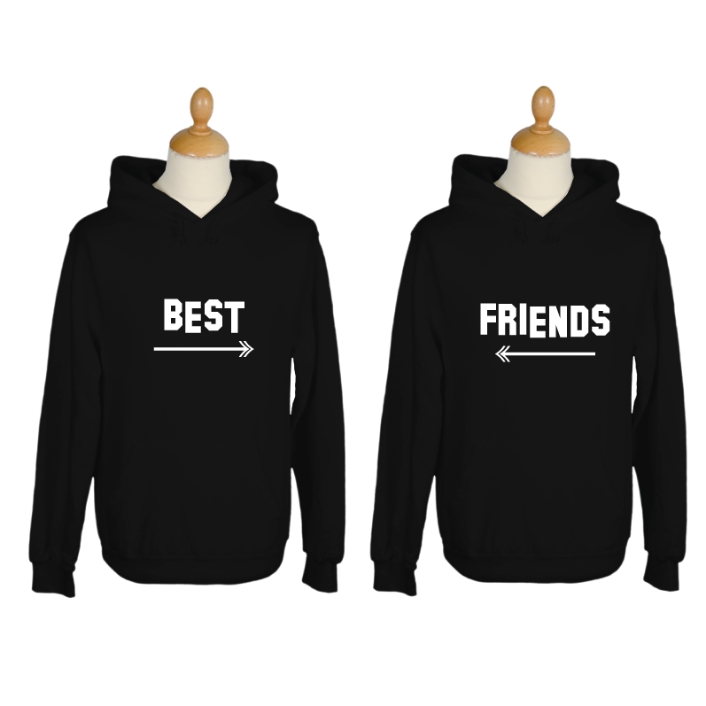 kapuzenpullover schwarz best friends druck wei hoodie. Black Bedroom Furniture Sets. Home Design Ideas